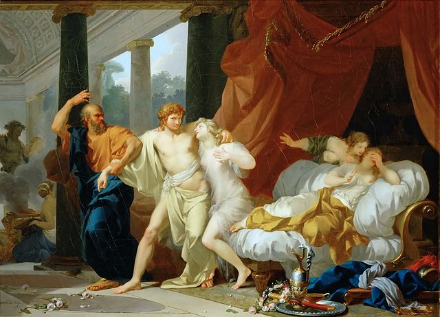 Jean-Baptiste Regnault - Socrates Tears Alcibiades from the Embrace of Sensual Pleasure (1791)