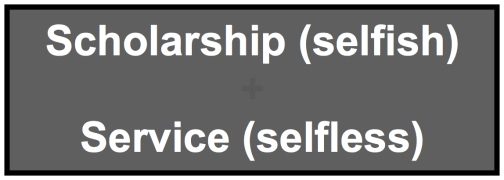 Scholarship Selfish Service Selfless